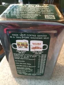 Cafe du Monde Menu